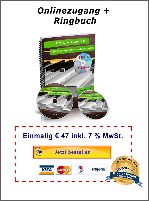 Playpiano-Pattern-Paket als Ringbuch mit 2 DVDs und mit extra Onlinezugang beim Verlag bestellen