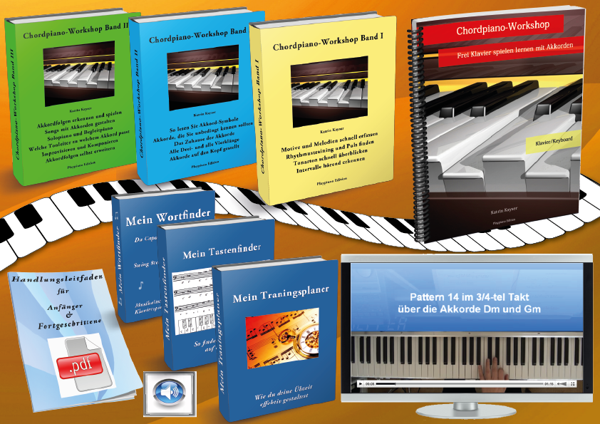 Akkorde am Klavier lernen mit den Chordpiano-Workshop eBooks, Audios, Patternvideos, PDF-Boni
